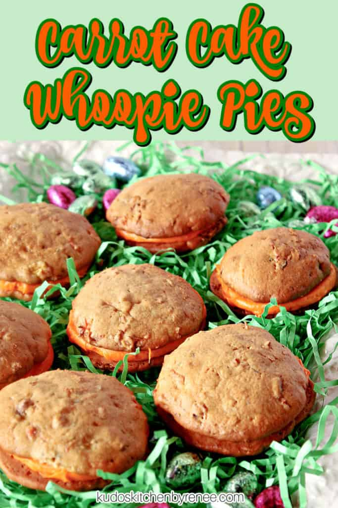 A closeup vertical image along with a title text overlay graphic for Carrot Cake Whoopie Cakes.