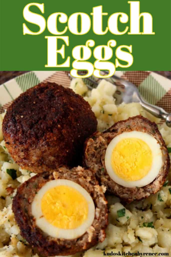 Vertical title text close up image of two scotch eggs on a plaid plate with one cut in half.