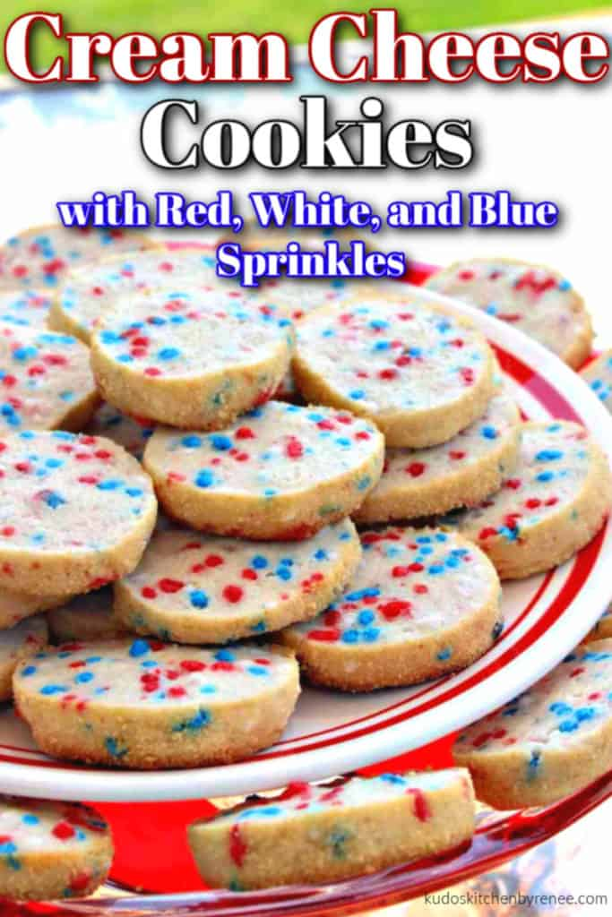 Closeup vertical image of cream cheese cookies with red, white, and blue sprinkles on a tiered cookie plate.