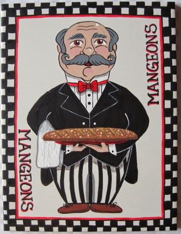 French Bread Waiter Hand Painted Trivet - kudoskitchenbyrenee.com