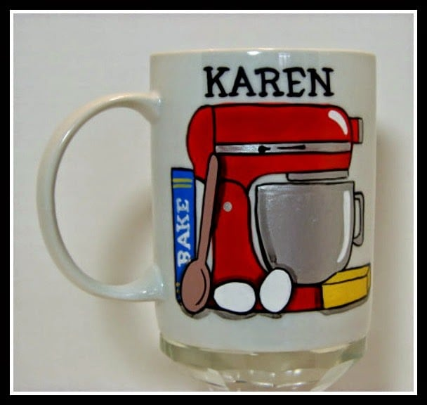 Kitchenaid stand mixer painted coffee mug via Kudos Kitchen by Renee