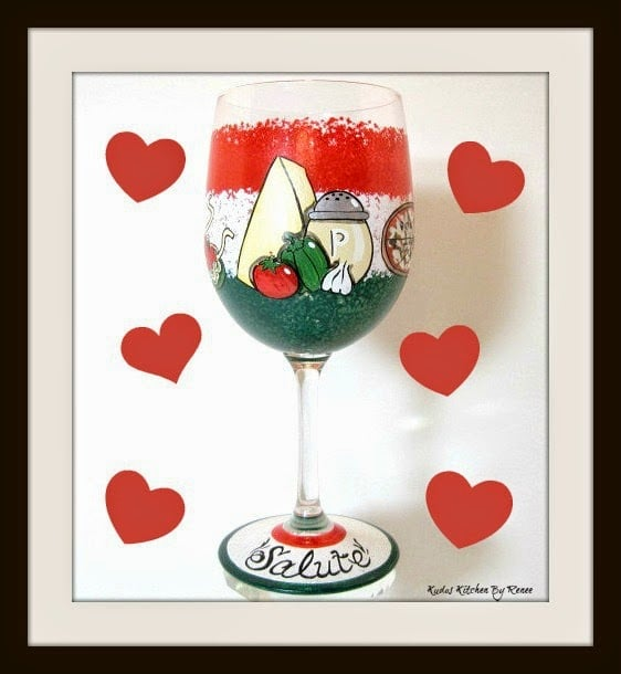 Italian Food Themed Painted Wine Glass via Kudos Kitchen by Renee