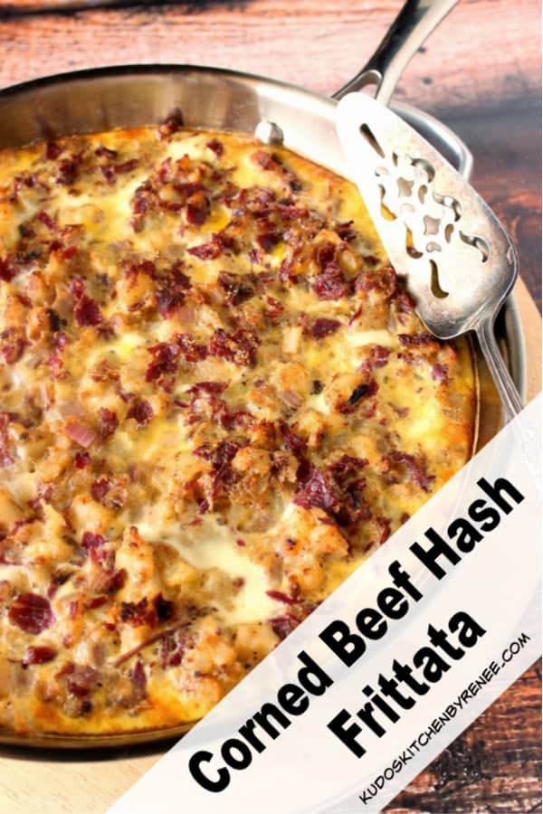 A vertical closeup photo of a corned beef hash frittata in a skillet for a popular St. Patrick's day recipes roundup post.