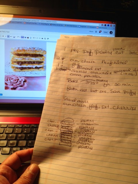 A sheet of paper with the idea and instructions for making a Chocolate Cherry Pastry Tower.