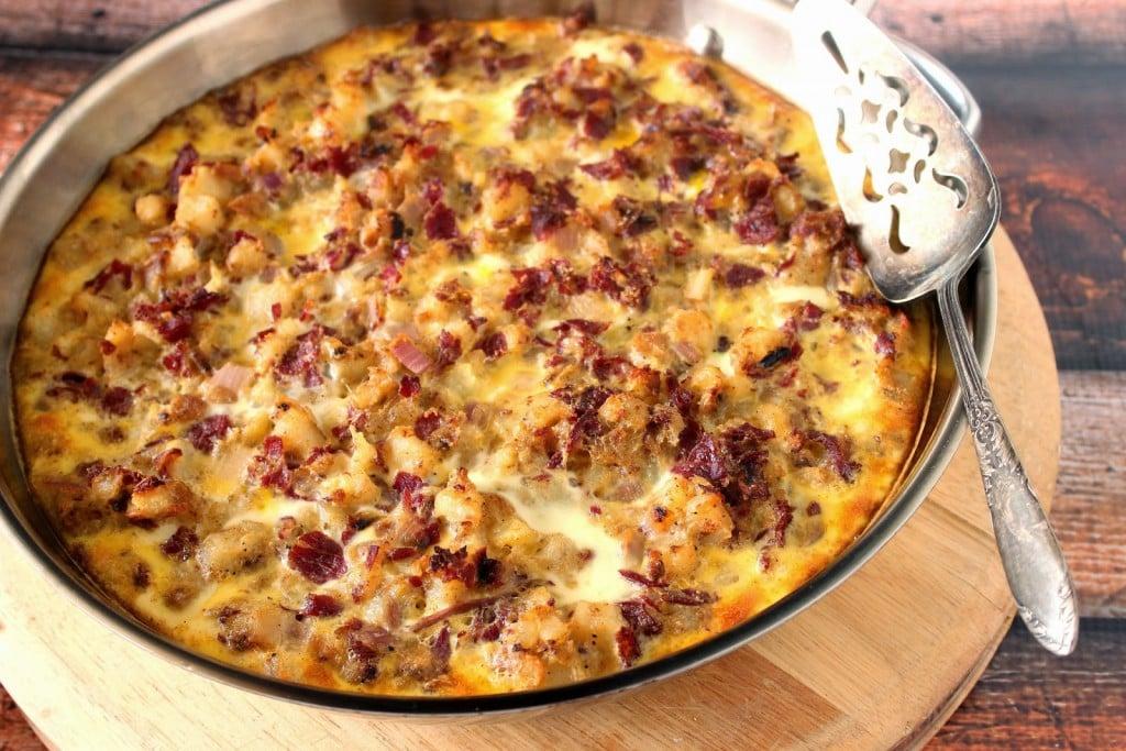 Corned Beef Hash Frittata Recipe via Kudos Kitchen by Renee