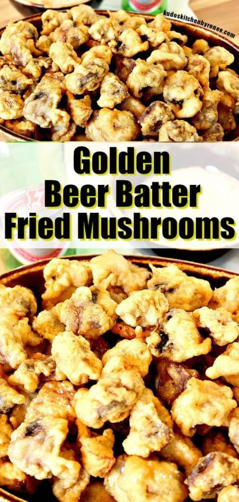 Even if you're not a huge mushroom fan, I'll bet you're going to flip over these golden beer batter fried mushrooms. How do I know? Because I never used to enjoy mushrooms...until these! - kudoskitchenbyrenee.com
