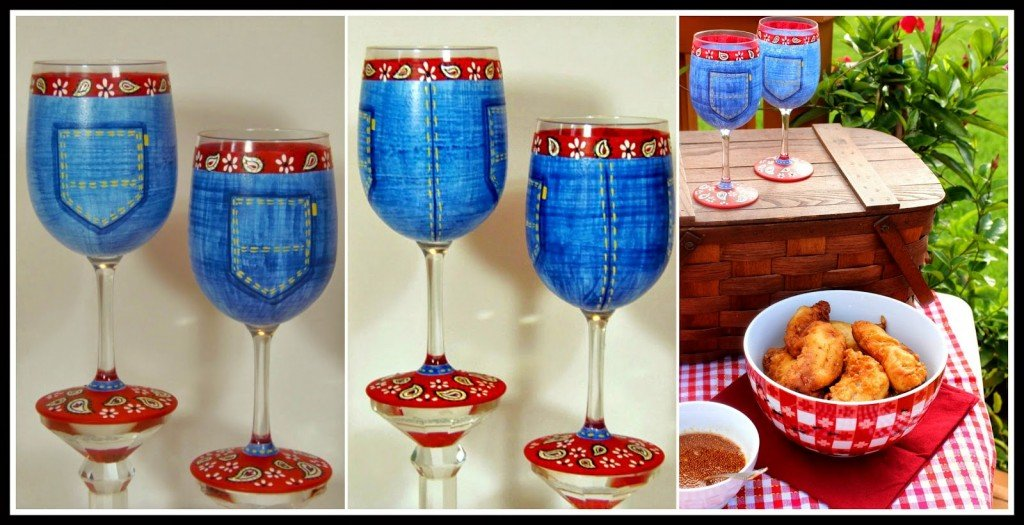 Blue Jean Inspired Painted Wine Glasses via kudoskitchenbyrenee.com