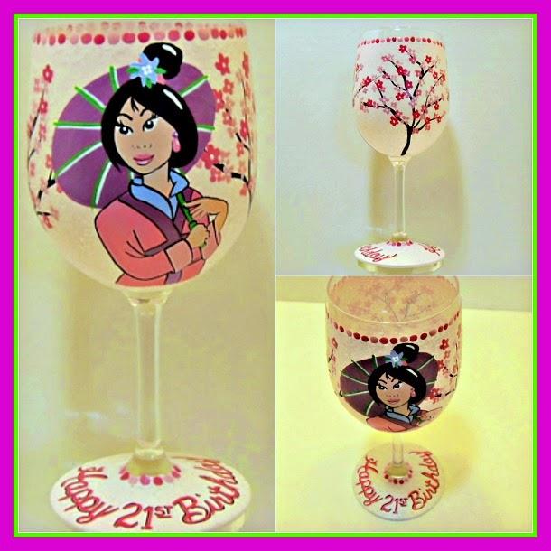Mulan princess painted wine glass - www.kudoskitchenbyrenee.com