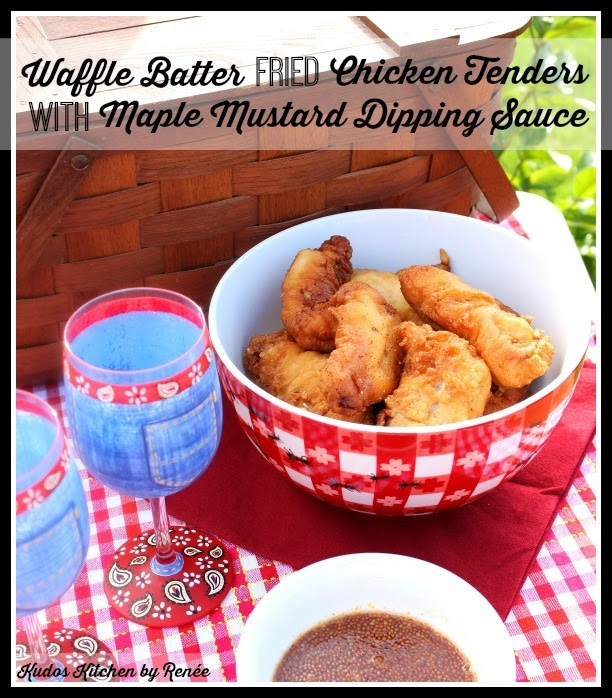 All the flavors you love from a traditional chicken and waffles recipe, but in an easily transportable package. Waffle Batter Fried Chicken Tenders with Maple Mustard Dipping Sauce is perfect for parties or picnics. - kudoskitchenbyrenee.com