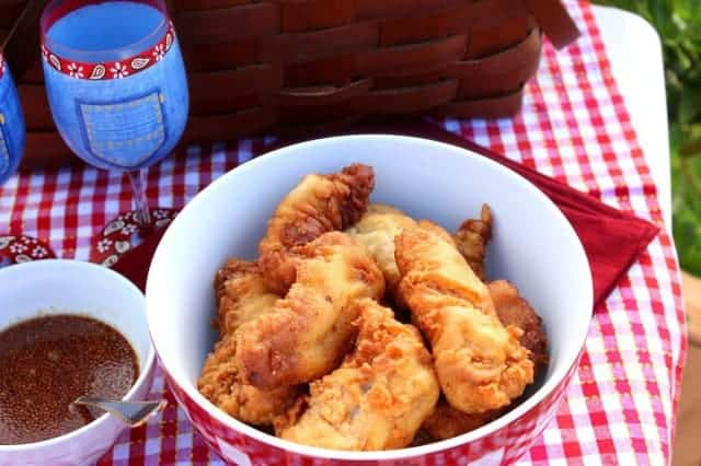 Waffle Batter Fried Chicken with Maple Mustard Dipping Sauce