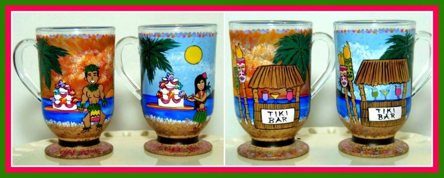 Hawaiian Theme painted coffee mugs via kudoskitchenbyrenee.com