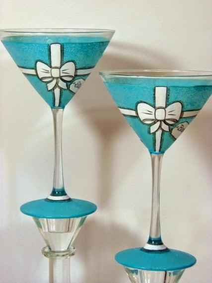 Tiffany Box Martini Glasses via kudoskitchenbyrenee.com