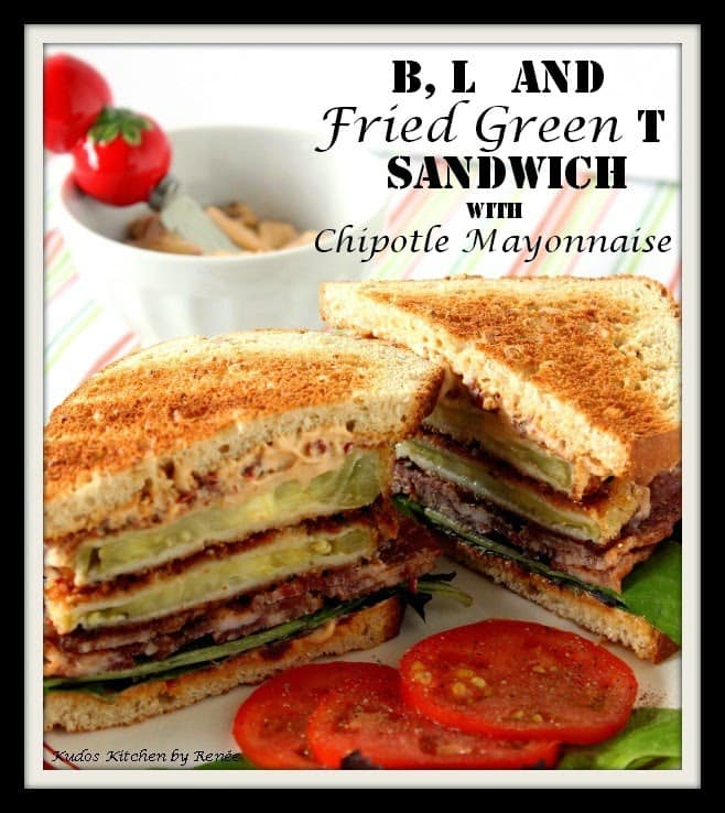 How to make a B,L and Fried Green T Sandwich Recipe via kudoskitchenbyrenee.com