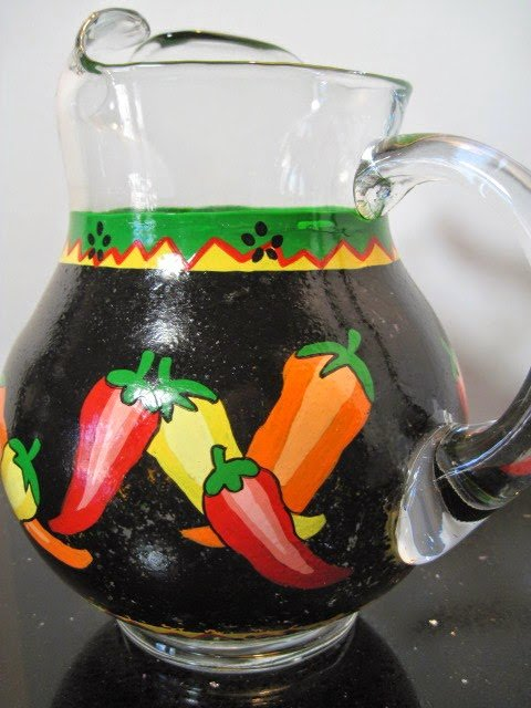 Chili Pepper Painted Pitcher via kudoskitchenbyrenee.com
