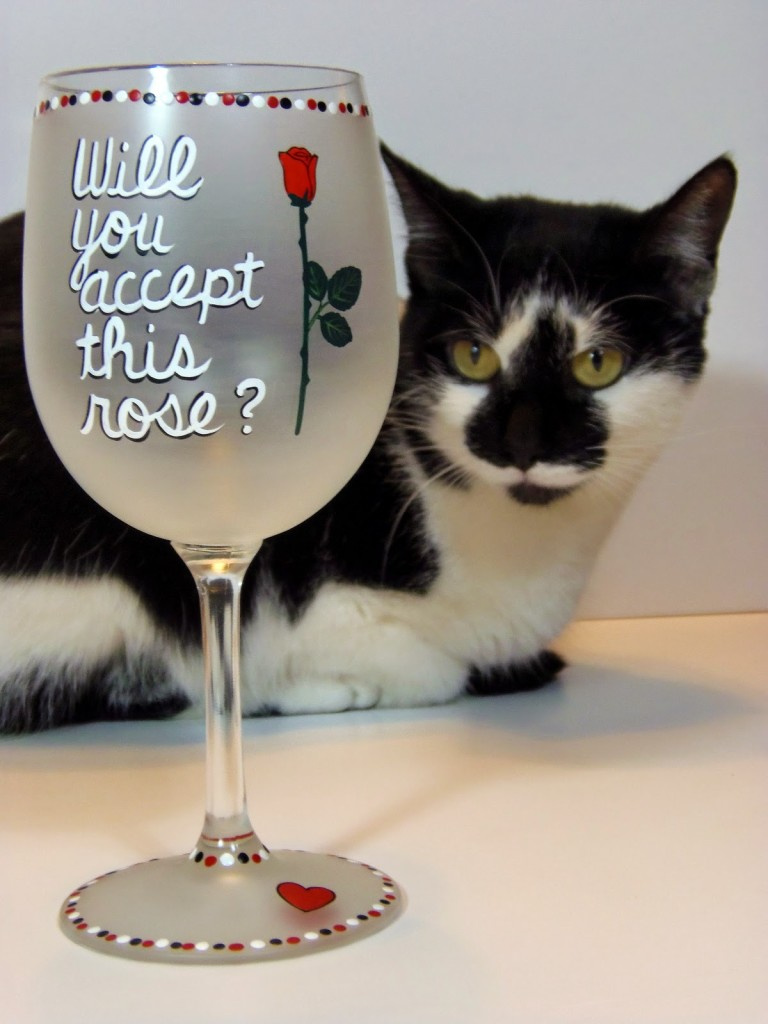 """""""Will you accept this rose?"""" painted wine glass via kudoskitchenbyrenee.com"""