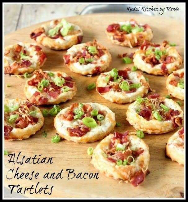 Alsatian Cheese and Bacon Tartlets via kudoskitchenbyrenee.com