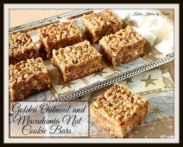 Golden Oatmeal and Macadamia Nut Cookie Bar Recipe