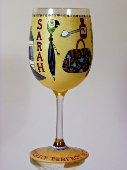 Mary Poppins Themed Painted Wine Glass