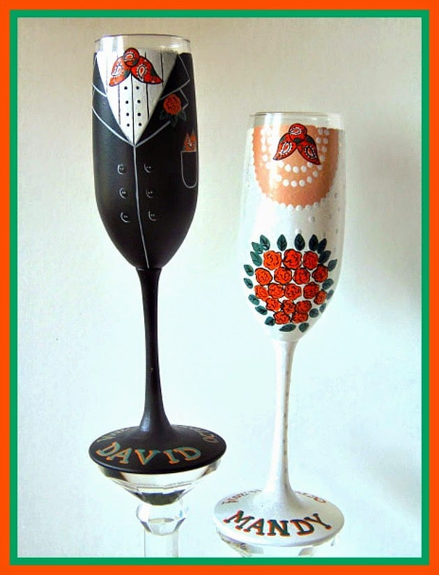 Western Themed Custom Painted Wedding Champagne Flutes - kudoskitchenbyrenee.com