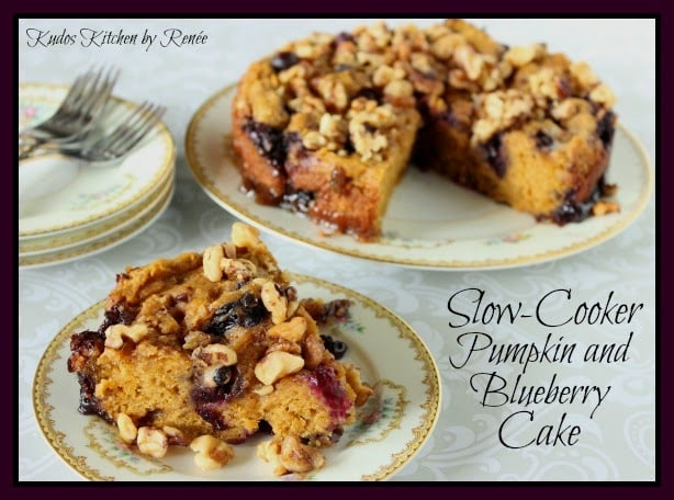 Slow Cooker Pumpkin Blueberry Cake on pretty china plates.