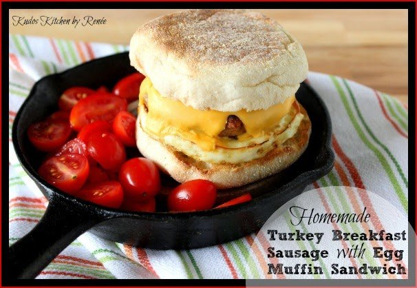 Turkey Breakfast Sausage on a homemade egg muffin sandwich in a baby skillet.