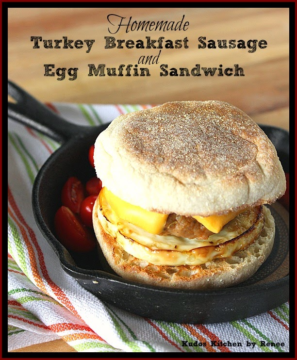 A vertical photo of Homemade Turkey Breakfast Sausage on an egg muffin sandwich.