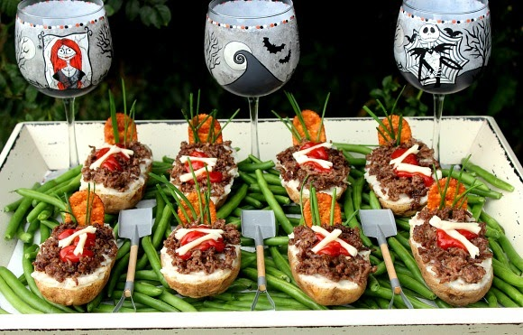 Spooky and delicious Twice Baked Potato Graves for #SundaySupper