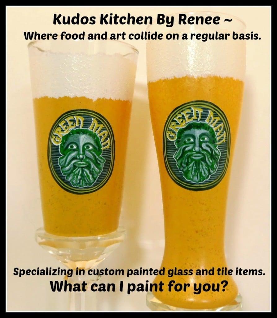 Green Man custom painted beer glasses