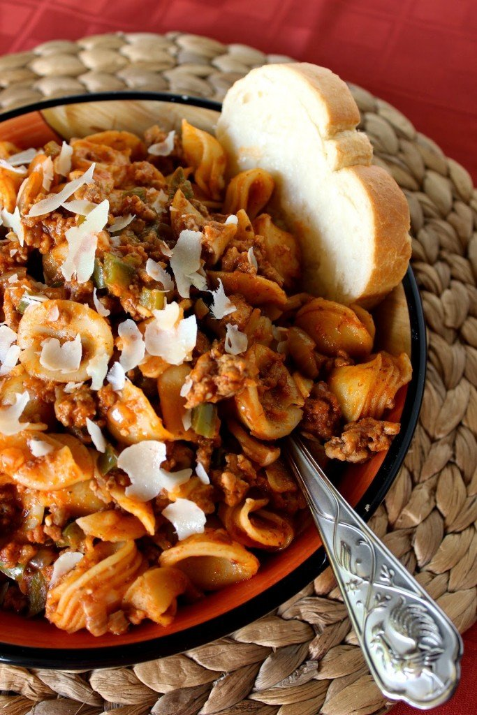 Little ears pasta with a deep, rich meat sauce of lamb and pork.