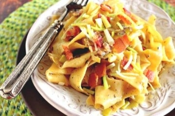 Pappardelle Leeks and Bacon