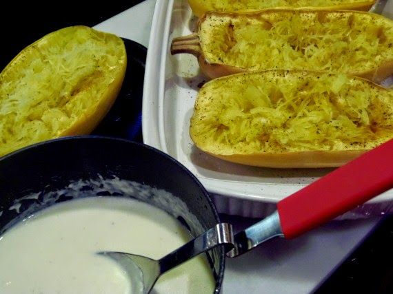 Spaghetti Squash Alfredo with Pancetta via Kudos Kitchen by Renee
