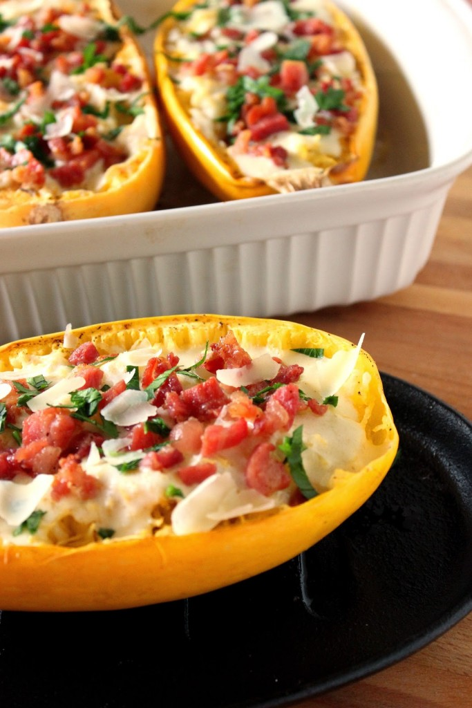 Roasted Spaghetti Squash with Alfredo Sauce and Pancetta