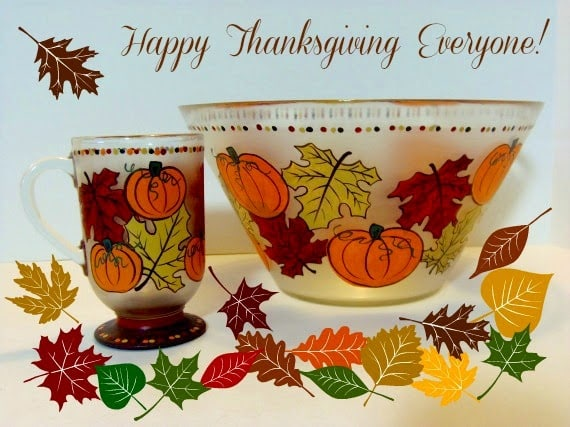 Autumn Leave and Pumpkin painted glassware / www.kudoskitchenbyrenee.wazala.com