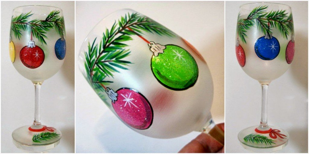 Festive Christmas ornaments painted, frosted wine glass / www.kudoskitchenbyrenee.wazala.com