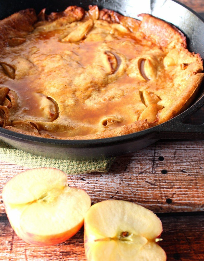 Apple Dutch Baby Pancake with Apple Cider Syrup
