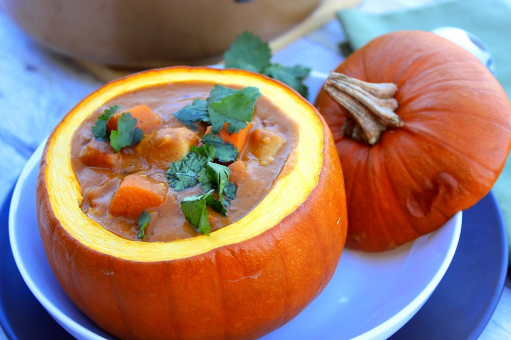 Serve this Peanut Butter, Chicken and Pumpkin Stew in a roasted pumpkin for drama and presentation.