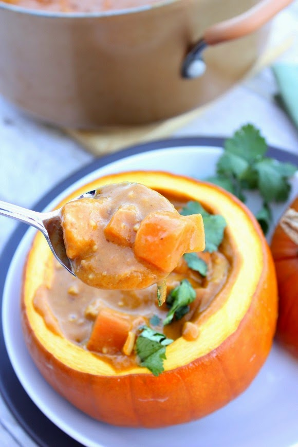 Serve this Peanut Butter, Chicken and Pumpkin Stew Recipe in a roasted pumpkin for drama and presentation / www.kudoskitchenbyrenee.com