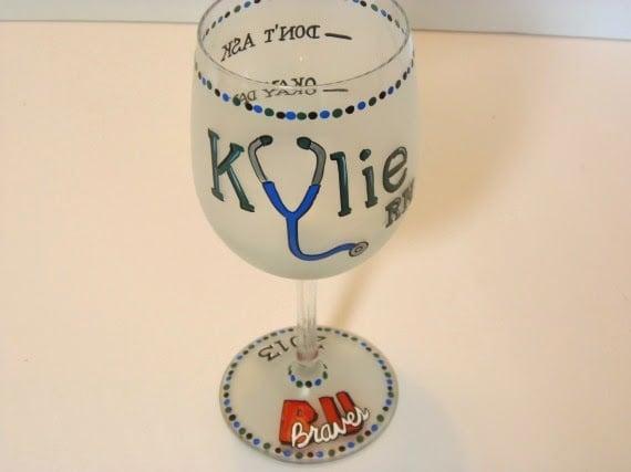 Custom Whimsical Nurses Painted Wine Glass