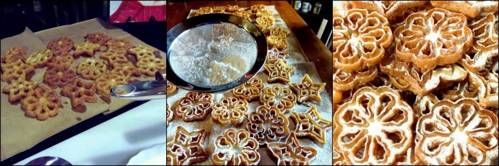 Fried Rosette Snowflake Cookies With Confectioners Sugar Dusting