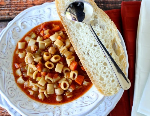 Tuscan Pasta Soup is a meatless meal but full of protein. - Kudos Kitchen by Renee