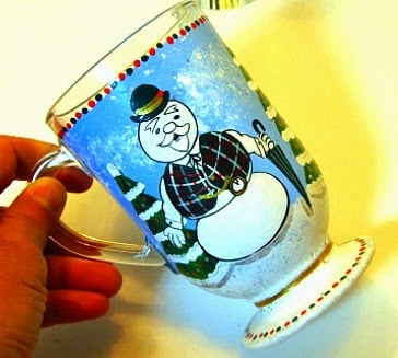 Sam the Snowman painted coffee mug via Kudos Kitchen by Renee