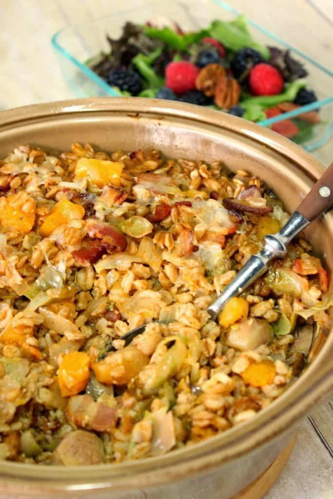 Baked Farro Casserole with Butternut Squash, Bacon and Brussels Sprouts is a deliciously savory dish with plenty of healthy whole grains and tons of texture and taste. - kudoskitchenbyrenee.com