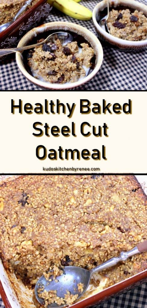 baked steel cut oatmeal long collage title image