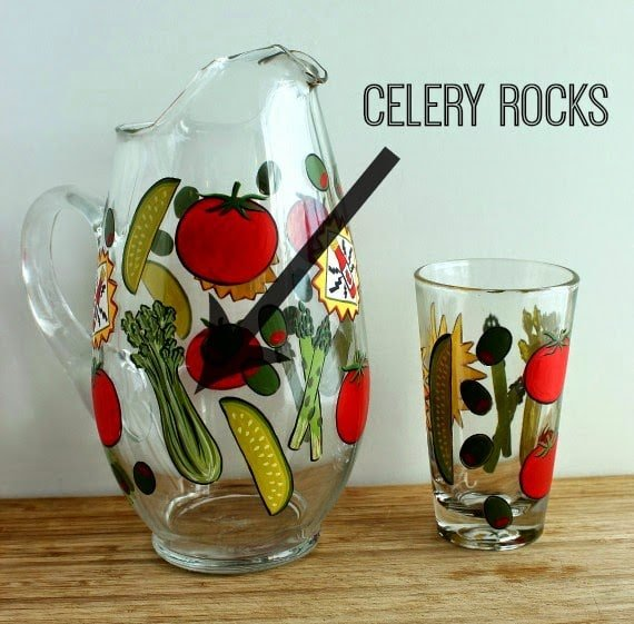 Hand Painted Bloody Mary Pitcher and glasses - www.kudoskitchenbyrenee.wazala.com