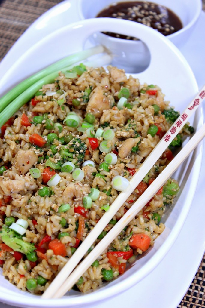 Chicken Fried Rice with Sesame Seeds and Almonds #SundaySupper #McSkilletSauces