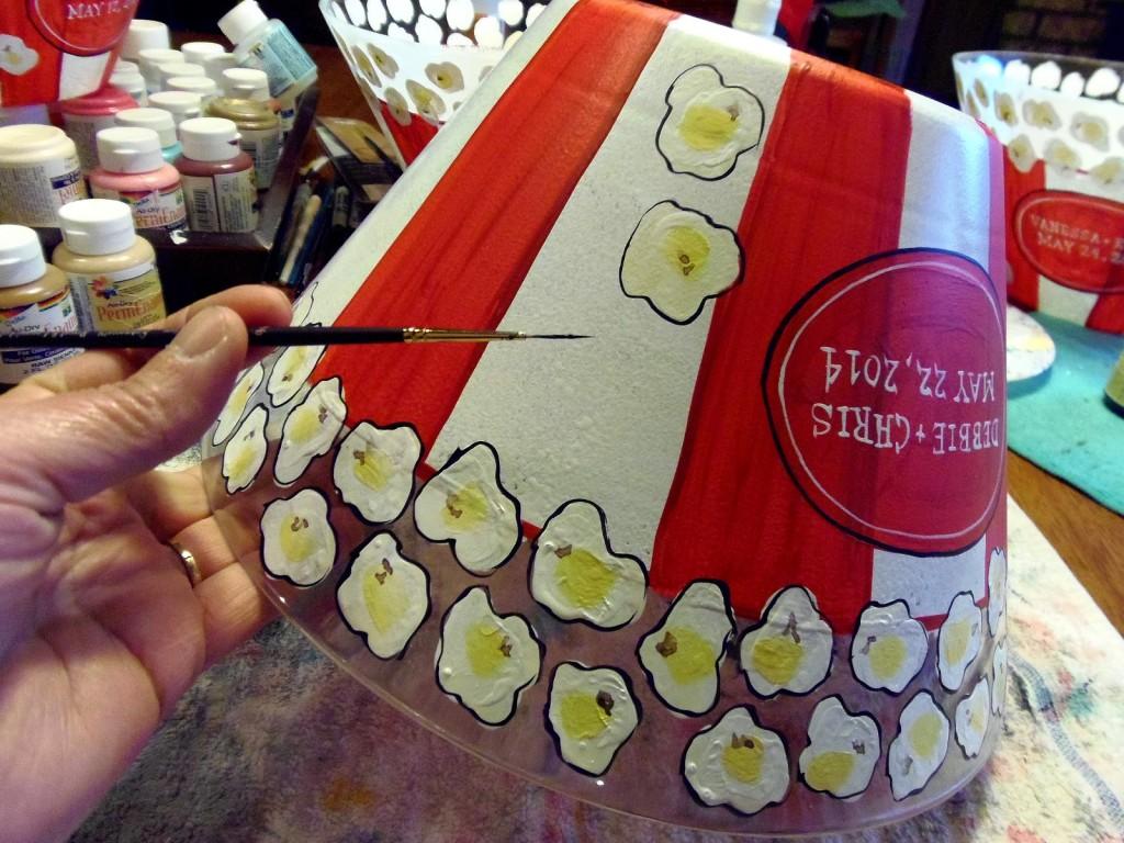 Personalized Painted Wedding Popcorn Bowl - www.kudoskitchenbyrenee.wazala.com