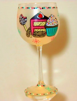 Sweets Lover Painted Wine Glass - kudoskitchenbyrenee.com