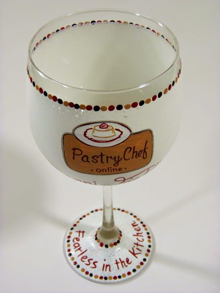 Food Blogger hand painted wine glass - www.kudoskitchenbyrenee.wazala.com