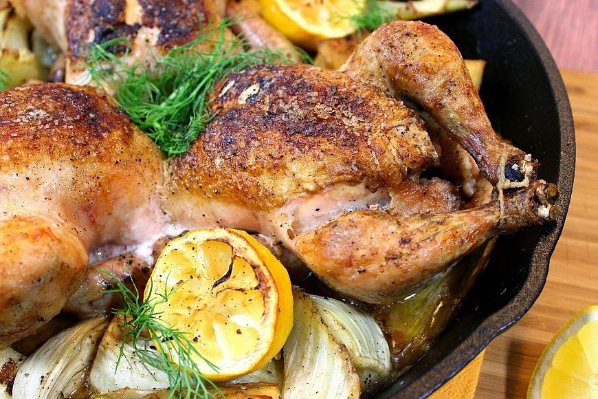 Skillet Roasted Cornish Hens