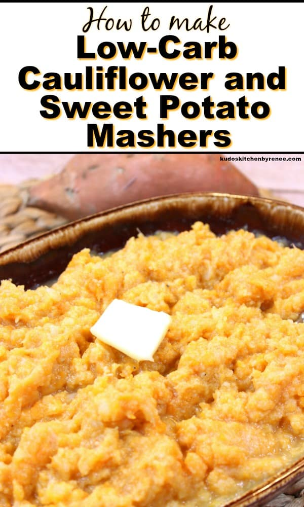Title text vertical image of cauliflower and sweet potato mashers